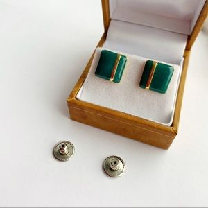 Cute Vintage Green Gold Tone Square Earrings